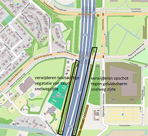 Kaartje Rijkswaterstaat waarop onderhoudskap- en snoeiwerk staan aangegeven